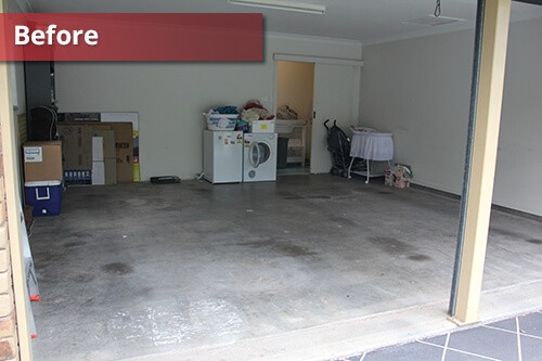 Garage floor before garage floor coating.